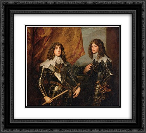 Anthony Van Dyck 2X Matted 22x20 Black Ornate Framed Art Print 'Portrait of The Princes Palatine Charles Louis I and his Brother Robert'