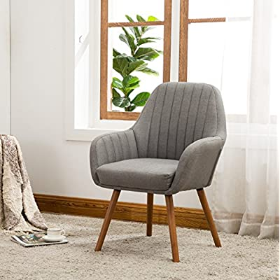 Roundhill Furniture Tuchico Contemporary Fabric Accent Chair, Gray - Frame constructions have been rigorously tested to simulate the home and transportation environments for improved durability. Solid wood frame legs come in a light brown finish. Corners are glued, blocked and stapled. High-quality plush high-density foam cushioning is upholstered in gray color. Deep tuck-pleating design and extra thick padding is supremely comfortable. - living-room-furniture, living-room, accent-chairs - 51W8K%2BSTChL. SS400  -