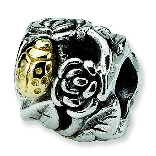Charm Perle en argent sterling 925Motif floral Reflections Coccinelle 14carats