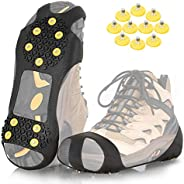 ZOMAKE Ice Cleats for Shoes and Boots, Traction Crampons Snow Grips for Walking on Ice, Men Women Anti Slip 10