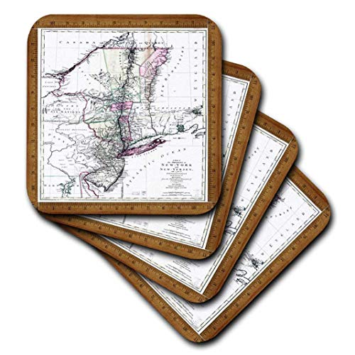 - 3dRose CST_60473_1 Antique 1771 Map of New York and New Jersey-Soft Coasters, Set of 4