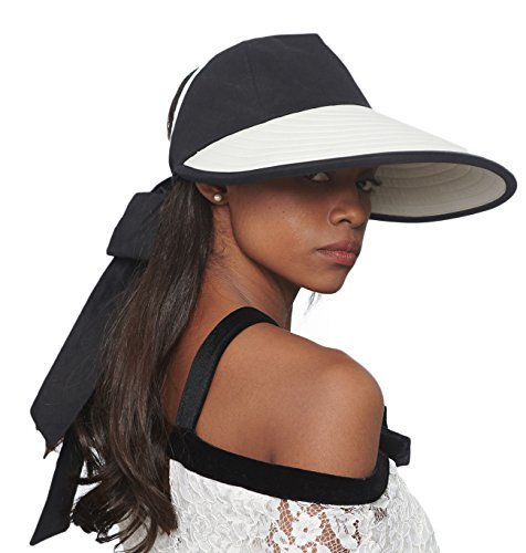 CACUSS Women's Summer Sun Hat Large Brim Visor with Bowknot Adjustable UPF 50+ by CACUSS (Image #2)