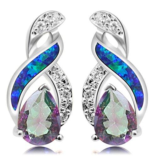 Australian Blue White Fire Opal Gemstone Stud Earrings for Women, Birthstone Jewelry Birthday Gifts (Sliver Mystic Topaz ()