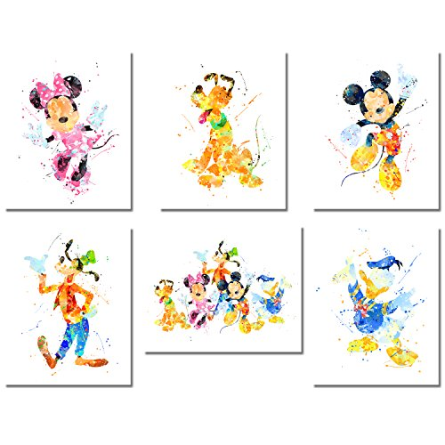 Mickey Mouse Wall Art Watercolor Poster Prints - Set of Six 8x10 Photos - with Mickey Minnie Donald Duck Goofy (Mickey Mouse Art)
