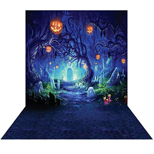 SJOLOON 5X7FT Halloween backdrops Photography Horror Pumpkin Graveyard Picture Background Studio 9536]()