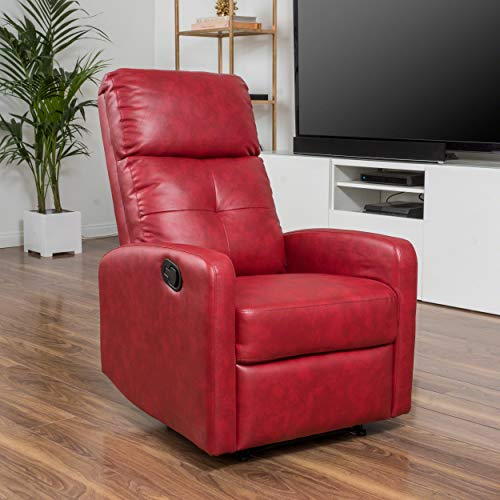 Christopher Knight Home 296603 Teyana Red Leather Recliner Club Chair - Leather Like Glider Recliner