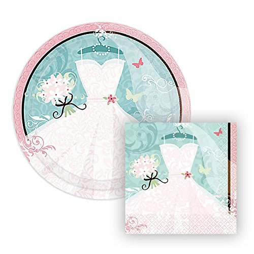 Something Blue Paper Plates and Napkins for Bridal Shower, 18 Settings, Bundle- 2 Items