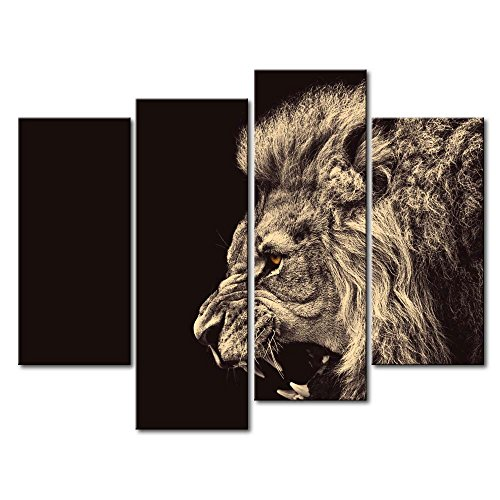 Picture Lion Roar (4 Panel Wall Art Painting Roar Lion Pictures Prints On Canvas Animal The Picture Decor Oil For Home Modern Decoration Print For Bathroom)