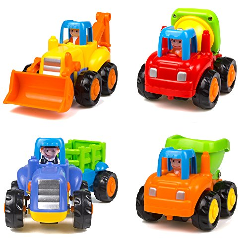 Wolson Push and Go Friction Powered Car Toys Engineering Vehicles Set Tractor Bulldozer Mixer Truck and Dumper for Baby Toddlers by Wolson