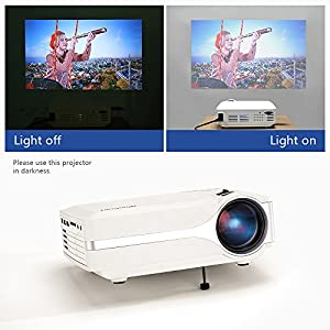 Projector, Blusmart LED-9400 Mini Portable Home Video Projector 220 LUX Peak Brightness180'' TV Projector Support 1080P Full HD for TV Movie Game Home Entertainment with PC AV/HDMI/VGA Input