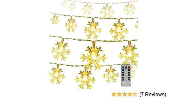 Wedding Fairy Lights with Remote Control Battery Powered 8 Modes Waterproof IP44 Indoor//Outdoor Decorative Lights for Christmas Party New Year Sunwebcam 100 LED Snowflake Shaped String Lights