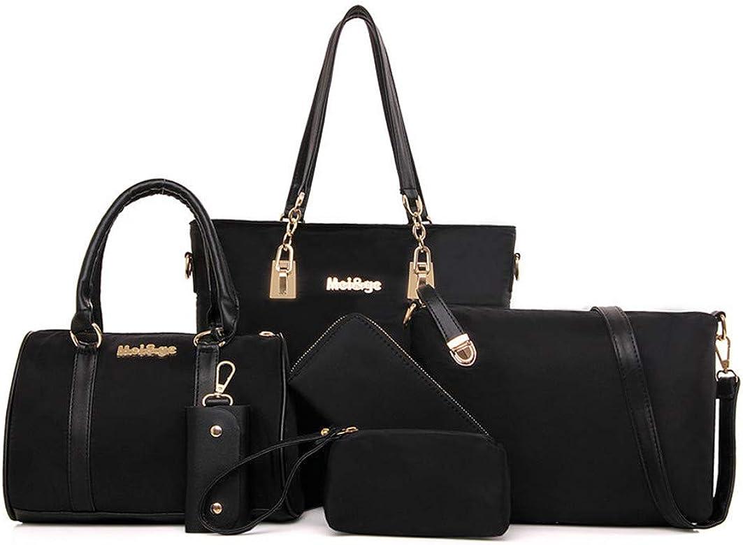 AlwaySky Bolsa de hombro de nailon para mujer, 6 piezas, asa superior, bolso de mano, cartera, juego de funda para llaves, color Negro, talla 33 EU