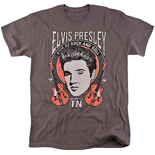 Elvis Presley King of Rock and Roll T Shirt for Men and Women (Small) Charcoal