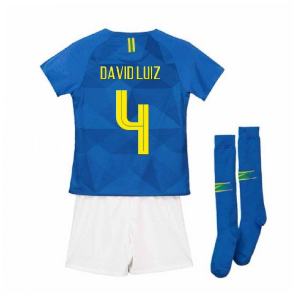 UKSoccershop 2018-2019 Brazil Away Nike Little Boys Mini Kit (David Luiz 4)