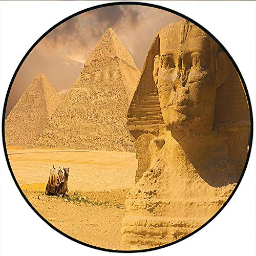 Short Plush Round Carpet The Great Sphinx Face with Other Pyramids in Egypt Old Historical God Ancient Monument Art Cream Living Room Computer Chair 70.8