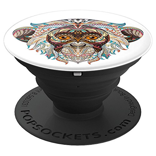 (Cute Coral Red Pink & Blue Monkey Art on White PSCUAI0014W - PopSockets Grip and Stand for Phones and Tablets)