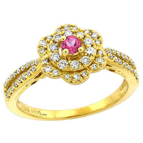 (14K Yellow Gold Genuine Diamond & Pink Topaz Flower Halo Engagement Ring Round Brilliant cut 3mm, size 8.5)