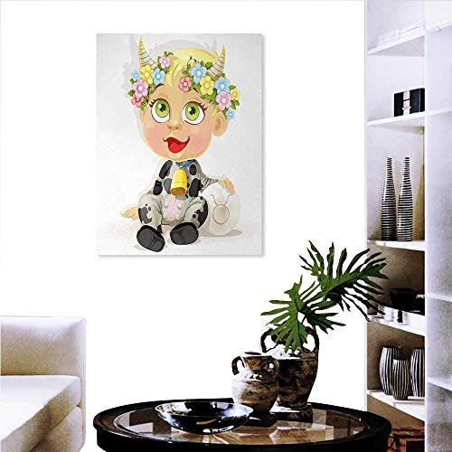 Zodiac Taurus Modern Wall Art Living Room Decoration Happy Baby Little Horns Flowers Cow Bell Costume Kids Cartoon Wall Art Canvas Prints 20