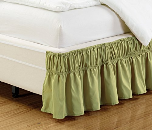Wrap Around Easy Fit DARK SAGE GREEN Ruffled Elastic Solid Bed Skirt Fits both QUEEN, KING and CAL KING size bedding High Thread Count 14 inch fall Microfiber Dust Ruffle, Silky Soft & Wrinkle Free.