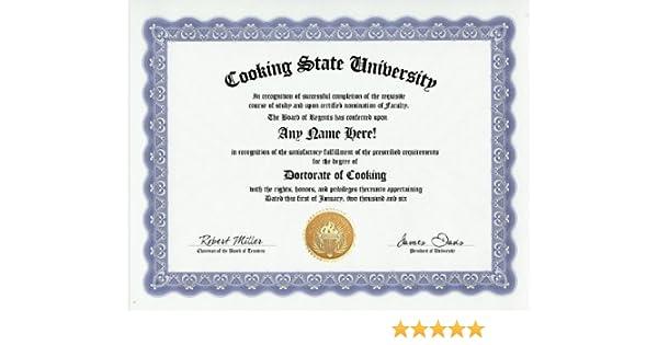 Amazon.com: Cooking Degree: Custom Gag Diploma Doctorate Certificate ...