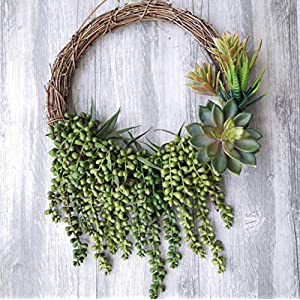 Meiliy 4pcs Artificial Succulent Plants Hanging Succulent Plants Faux Succulents Unpotted Branch String of Pearls Plant for Home Kitchen Office Wedding Garden Craft Art Decor 5