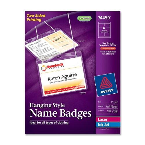 Avery Insertable White Badges 74459