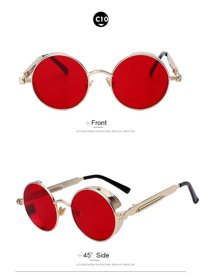 6596eafdcf5 Amazon.com   Round Metal Sunglasses Steampunk Men Women Fashion Glasses  Brand Designer Retro Vintage Sunglasses UV400