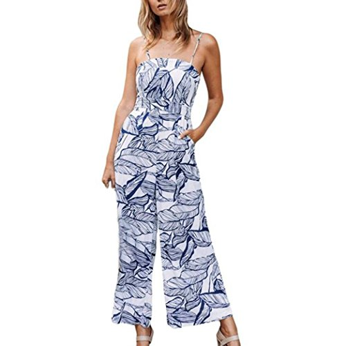 Sameno Women Leaves Printing Spaghetti Strap Tops Long Playsuits Wide Leg Rompers Jumpsuit