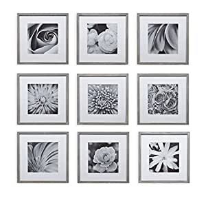picture hanging template kit - gallery perfect 9 piece greywash square photo