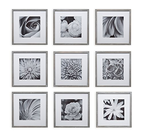 Wall Decor Kit (Gallery Perfect 9 Piece Greywash Square Photo Frame Wall Gallery Kit #17FW2316. Includes: Frames, Hanging Wall Template, Decorative Art Prints and Hanging Hardware)