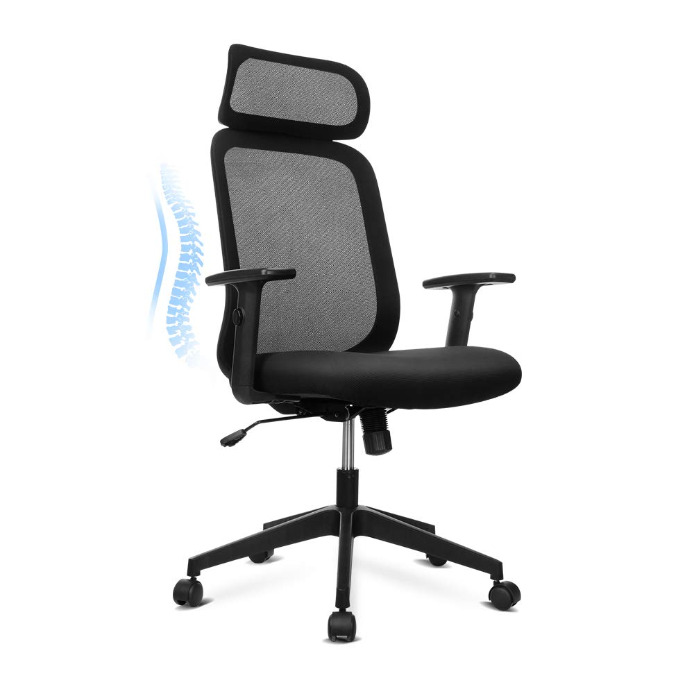 Vanspace High-Back Mesh Office Chair Ergonomic Desk Chair with PU Armrest Computer Chair Task Chair with Full Size Headrest, Back Leaning, Thick Seat Cushion, Height Adjustment- Black Panda