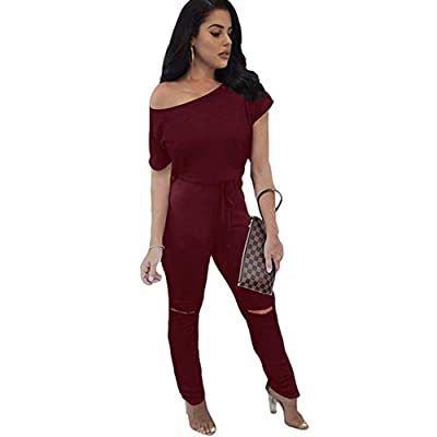 ALAIX Women's Sexy Jumpsuit Crewneck One Off Shoulder Overall Short Sleeve Drawstring Romper Playsuits with Pockets Wine Red-M: Clothing
