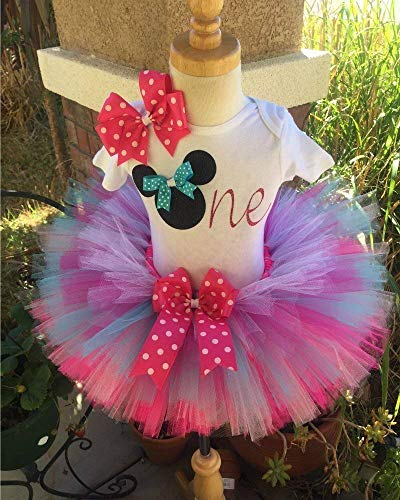 Minnie Mouse Birthday Tutu Outfit Set Dress Shirt First Birthday 1st Pink and Aqua -