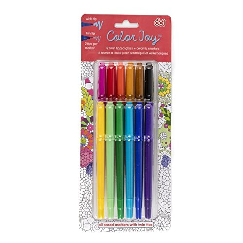 DCI Color Joy Glass and Ceramic Markers, Twin Tip, 12-Count, Adult Coloring Markers, Great for Drawing on Coffee Mugs and ()