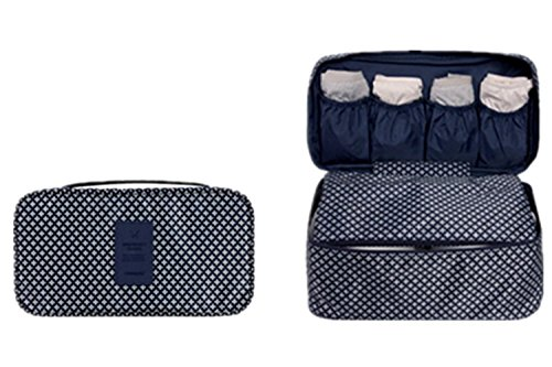 Price comparison product image Portable Multi-Functional Travel Home Lingerie Bra Storage Bag Receiving Package Protection Waterproof Handbag Cosmetic Make-up Storage Buggy Bag Pouch (Navy Blue Star)