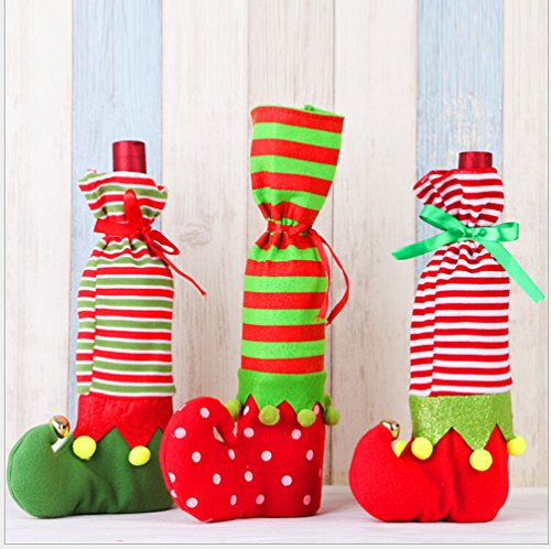 Homecube Wine Bags, 3Pcs Santa Claus Wine Bottle Cover Gift Bags Set Party Hotel Kitchen Table ()