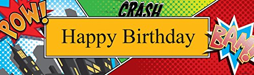 "Superhero Comics Party Supplies - Vinyl Birthday Banner 18"" x 61"""