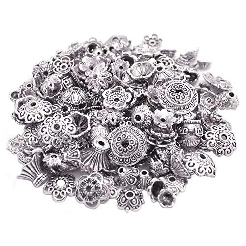 (160-210pcs Bali Style Jewelry Making Metal Bead Caps Deluxe New Mix, 100 Gram,Tibetan Silver)