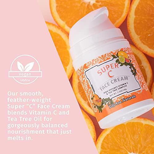 Vitamin C Cream by LilyAna Naturals - Vitamin C Moisturizer for Face designed for Women AND Men, High-Potency Vitamin C & Tea Tree Complex 1.7oz