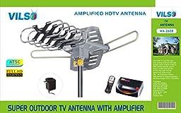 Vilso TV Antenna Outdoor Amplified - Motorized 360° Degree Rotation - Digital HDTV Antenna - 150 Miles Range - Wireless Remote