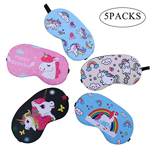 Eccoo House Unicorn Sleeping Mask 5pcs Soft Lightweight Blindfold Eye Cover for Men Women Kids by Eccoo House