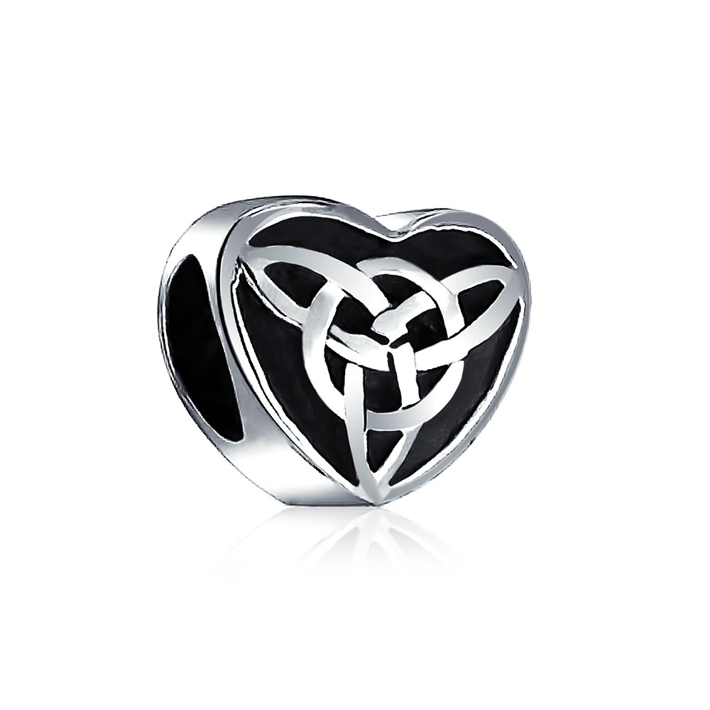 Bling Jewelry Oxidized Celtic Knot Charm 925 Sterling Silver Triquetra Heart Charm Bead for Bracelet PBX-D-SS0292