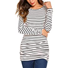 OURS Womens Basic Slim Fit Long Sleeve Striped T Shirt Dress Ruched Tunic Tops …