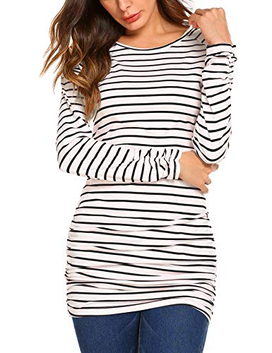 White Striped Shirt Top - OURS Women's Long Sleeve Comfy Soft Striped Blouses T-Shirt Tunic Tops (XXL, Black and White)