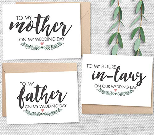- Set of 3 Wedding Day Notes from Bride, To My Mother, Father, Future In-Laws Cards