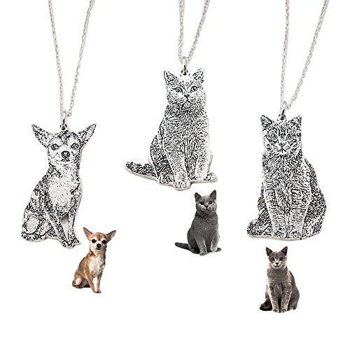 (Jack-F Personalized Necklace Customize Photo Necklace Siver Pet Jewelry Pendant Carving for Lover)