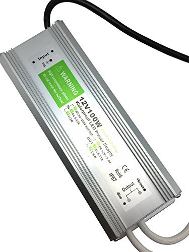 Pearlight DC 12v adapter,LED Power Supply Driver Transformer IP67 Waterproof 100w Suitable for LED lighting LED Strip Light ,LED Module and Power Accessories by Pearlight