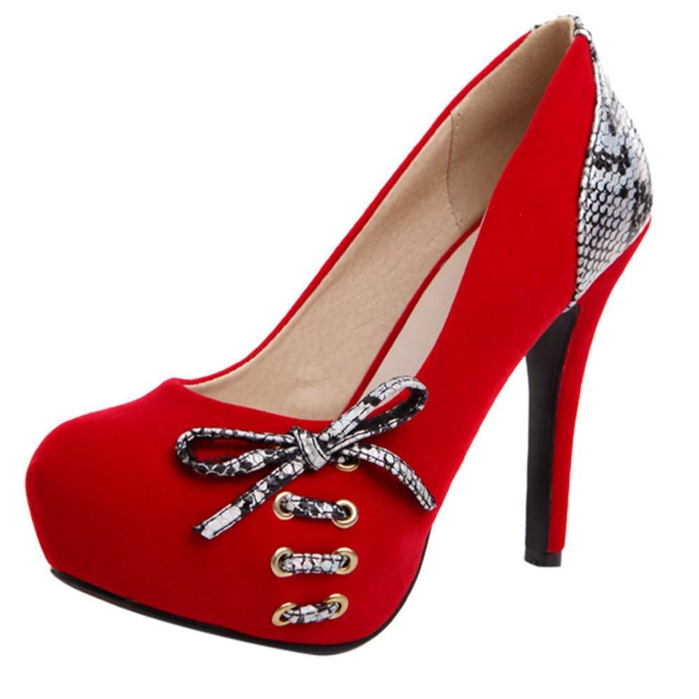 HhGold Stiefel Damen Schuhe Mode Damen Snakeskin Runde Toe Schuhe Lace-Up High Heel Casual Single Schuhe (Farbe   Rot, Größe   37 EU)