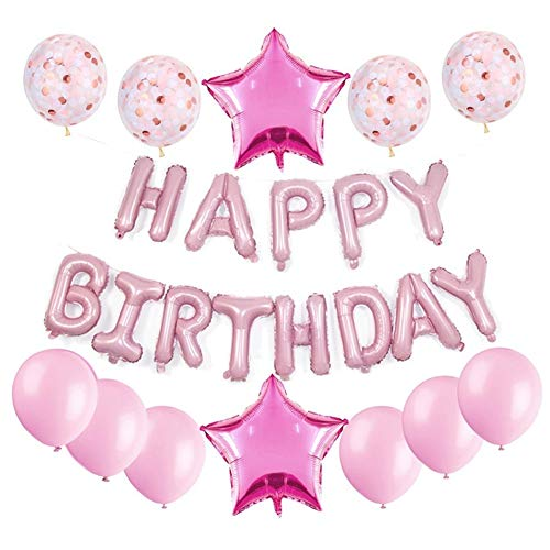 Haimimall Happy Birthday Balloons Set Pink-13pcs Letters Balloons