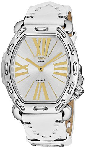 Fendi Selleria Womens Stainless Steel Tonneau Swiss Fashion Watch with Selleria Horse - Silver Face White Leather Strap Analog Quartz Dress Watch For Women with Interchangeable Band - Clearance Fendi